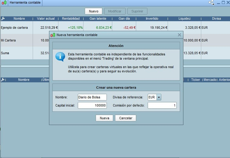 Configuración de la herramienta contable de ProRealTime - Metiendo operaciones