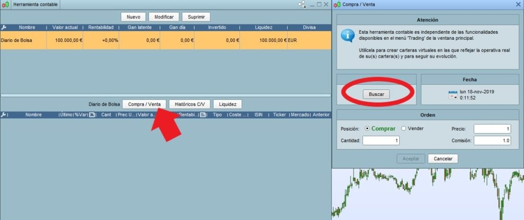 Configurar la herramienta contable de ProRealTime y metiendo las primeras órdenes de compra y venta