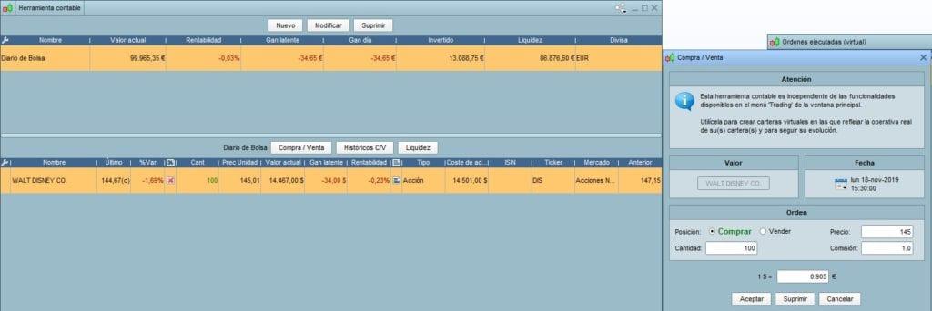Primeros pasos en la herramienta contable de ProRealTime y metiendo las primeras órdenes de compra y venta