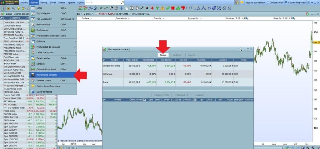 Cómo configurar la herramienta Contable de ProRealTime