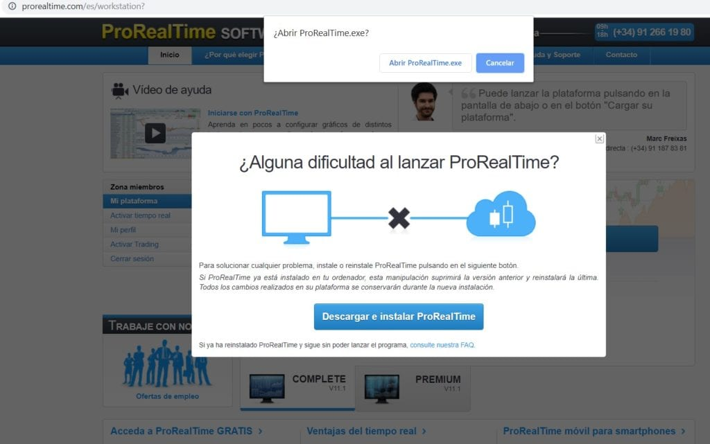 Autorizar o dar permisos para abrir el programa de instalación .exe de ProRealTime