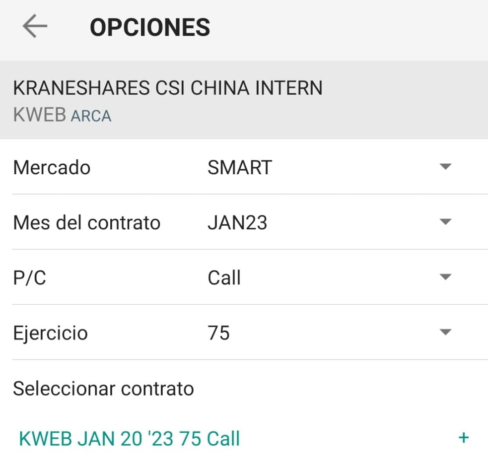 Configuración de opciones call sobre el KWEB. Invertir en china con opciones a través de Interactive brokers