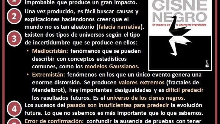 Resumen con las 5 ideas principales de el cisne negro de Nassim Taleb