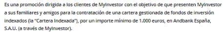 Condiciones programa de referidos MyInvestor cartera indexada o roboadvisor