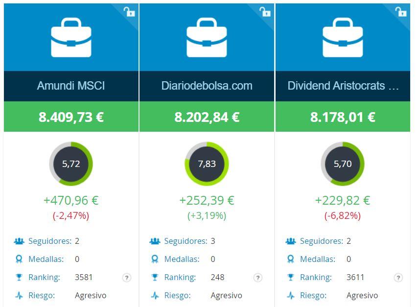 cartera de DiariodeBolsa.com comprando aristócratas del dividendo vs ETF NOBL y MSCI World