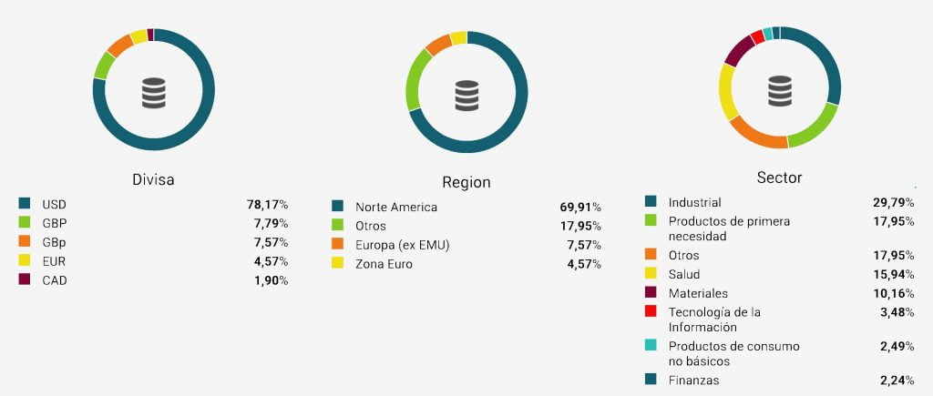 Gráficos de tartas con la diversificación por divisa, región y sector de la cartera modelo