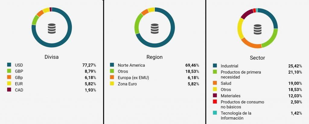 Diversificación de riesgo divisa, región y sector de la cartera modelo de diariodebolsa.com en el reto gestión activa vs gestión pasiva