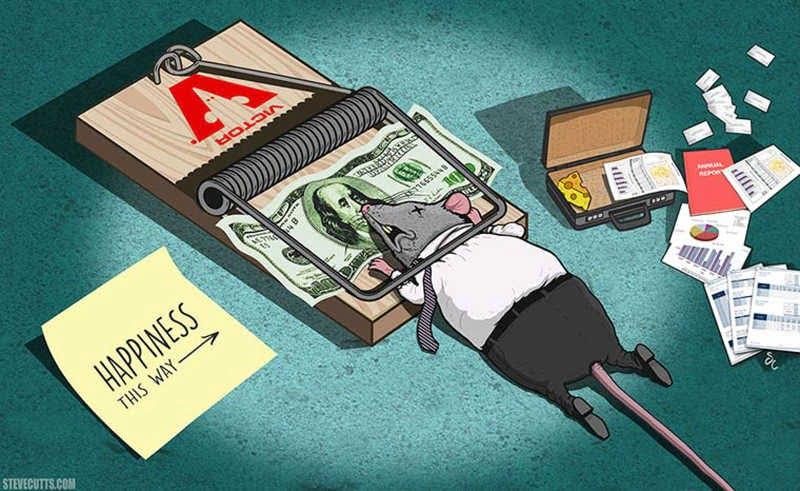 dibujo raton traje atrapado dinero