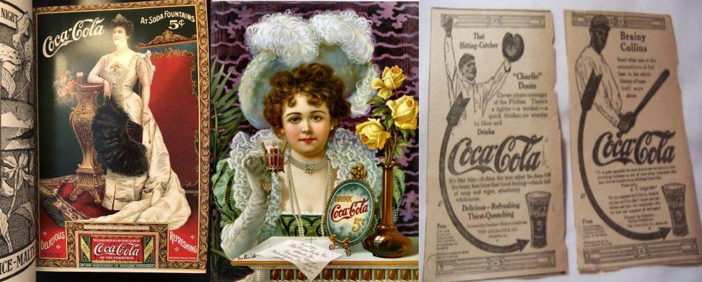 Campañas de Coca-Cola (KO) a principios del s.XX con imagenes de la cantante de ópera llamada Louie Nórdica, la actriz Hilda Clark y jugadores de baseball: