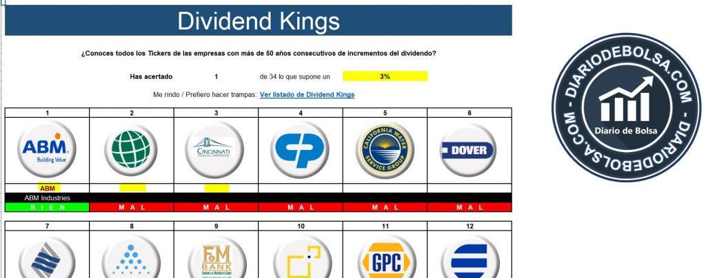Juego de bolsa de identificar logos de aristócratas del dividendo y Dividend Kings en Excel de diariodebolsa.com