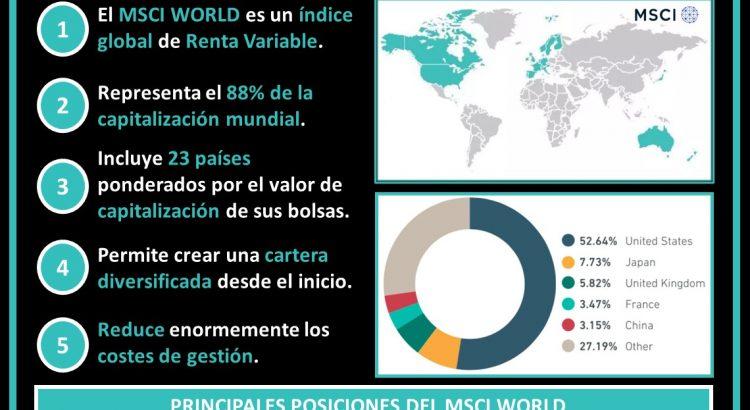 Esquema composición MSCI World, países representados y logos de empresas de las principales posiciones