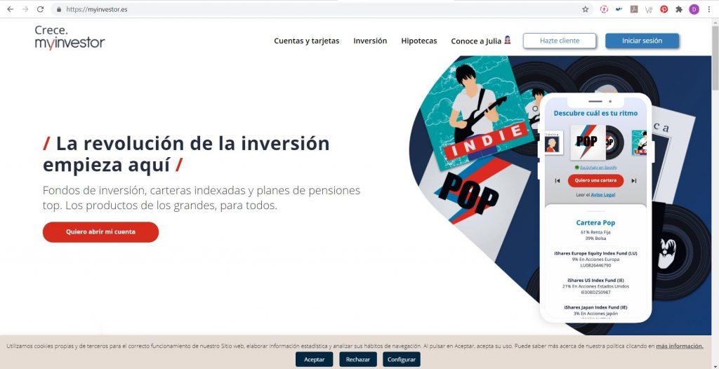Página principal de MyInvestor, ¿el mejor broker para empezar a invertir con fondos indexados?