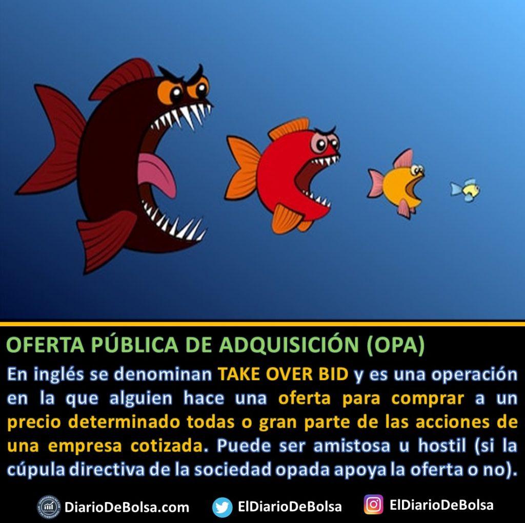 Oferta publica de adquisición de acciones OPA pez grande comiendo pez chico