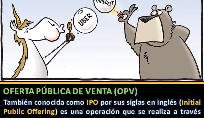 Definición de OPV u oferta publica de venta con ejemplos de empresas unicornio que han surgido de OPV (Uber Pinterest Lyft)