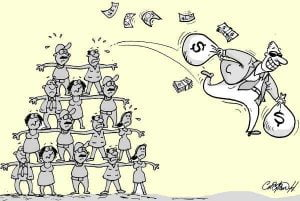 Pirámide personas estafador con huye dinero