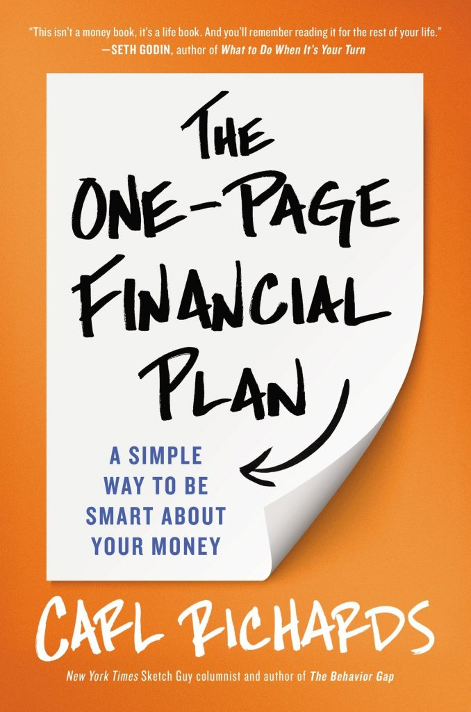Portada del libro recomendado sobre bolsa e Inversión:  The One-Page Financial Plan: A Simple Way to Be Smart About Your Money de Carl Richards