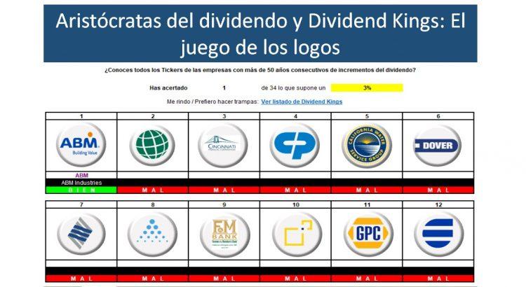 portada Juego logos aristócratas del dividendo y Dividend Kings en Excel