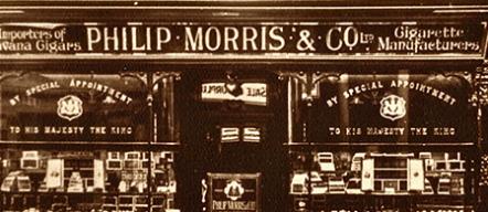 Escaparate primera tienda de Philip Morris (aristócrata del dividendo y Dividend King Altria MO)