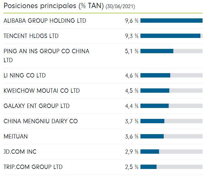 Principales posiciones del fondo Fidelity China Consumer E (ISIN LU0766124126)