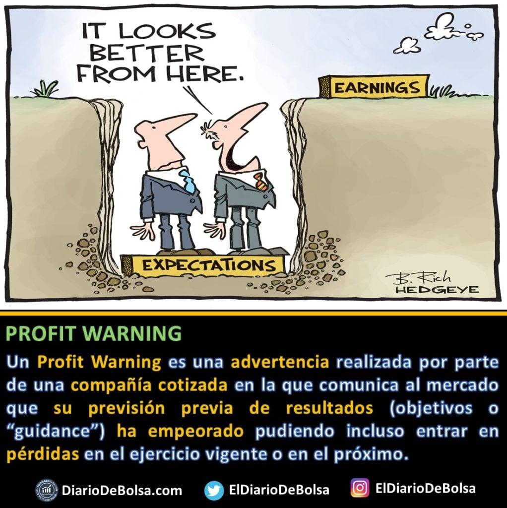 ¿Qué es un Profit Warning? empeoramiento o revisión la baja de los objetivos, guidance o previsión previa de los resultados de una compañía cotizada.