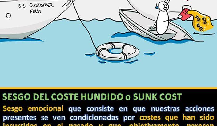 dibujo barco hundiéndose siendo rescatado con un salvavidas de otro barco y definición del sesgo del coste hundido