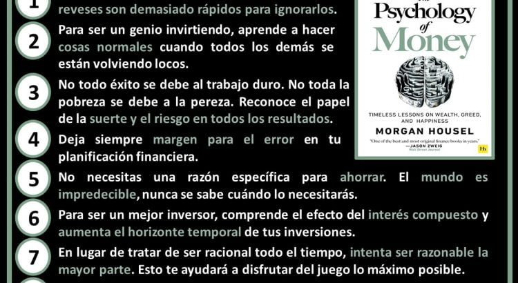 Esquema resumen con las 9 lecciones principales the psyghology of Money de Morgan Housel
