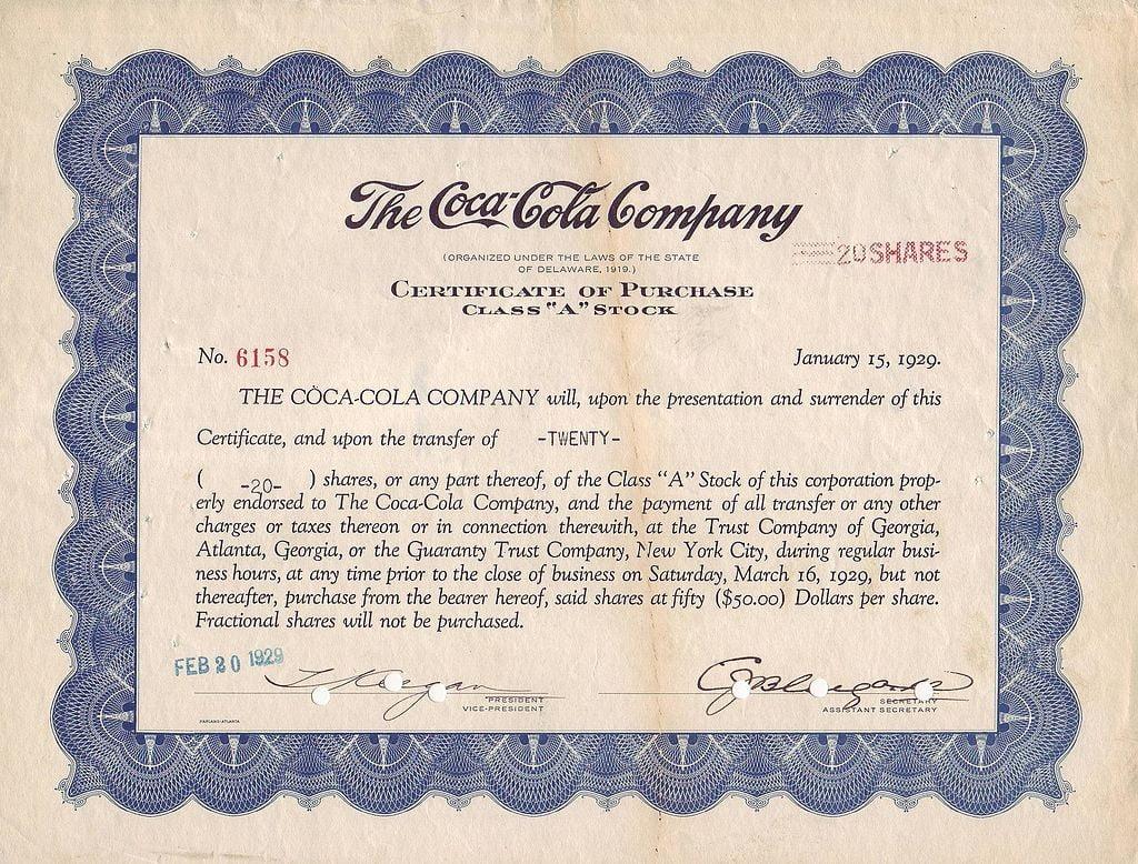 Certificado de compra de 20 acciones de Coca-Cola Company KO, en 1929