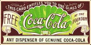 Ticket para probar gratis un vaso de Coca Cola