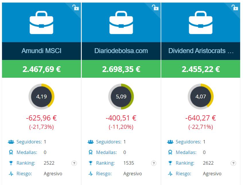 Comparativa de la cartera de aristócratas del dividendo de DiarioDeBolsa con las acciones seleecionadas por MrHater vs MSCI World y un ETF de aristocratas del dividendo