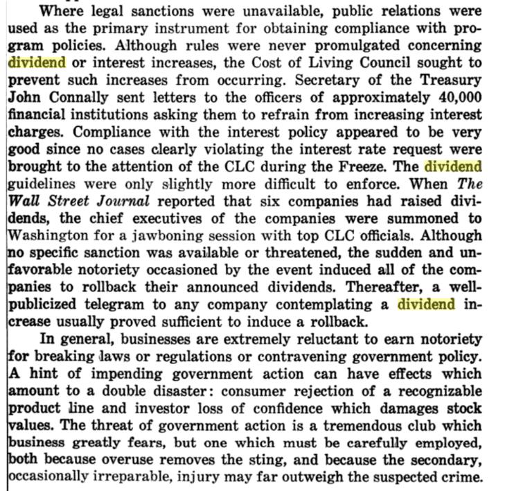 Limitación en el pago de dividendos de 1971. El impacto que tuvo en las Dividend Kings